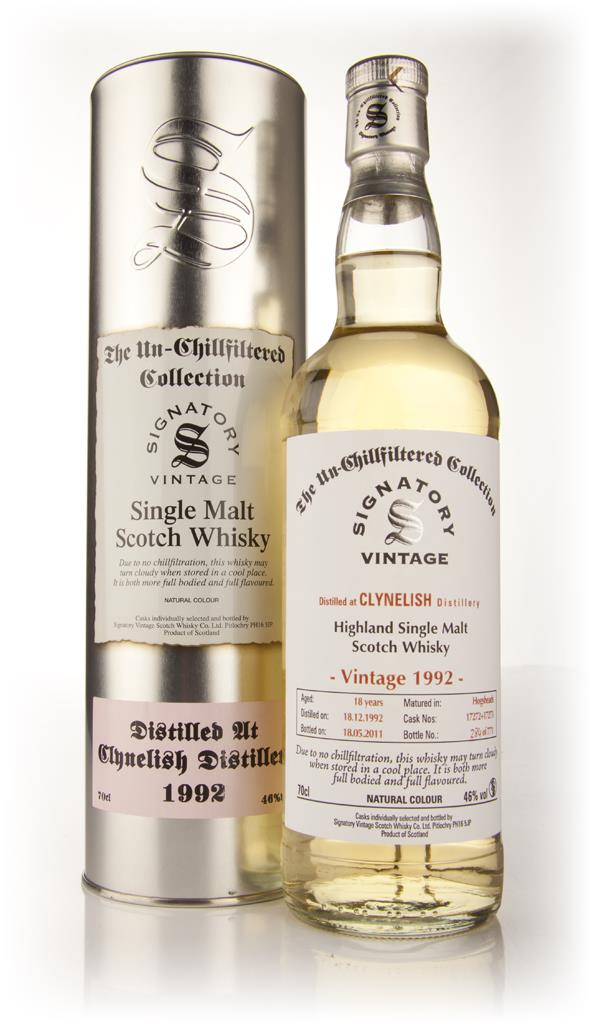 Clynelish 18 Year Old 1992 - Un-Chillfiltered (Signatory) Single Malt Whisky