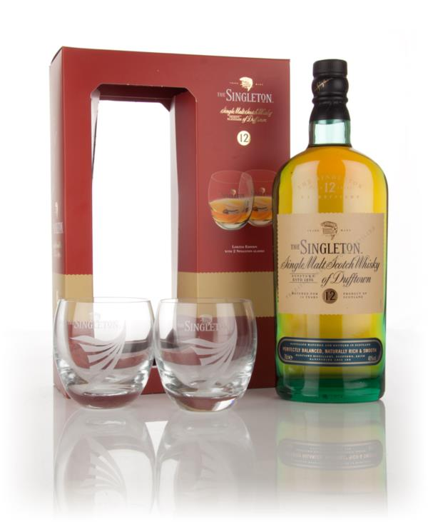 Singleton of Dufftown 12 Year Old with 2 Glasses Single Malt Whisky