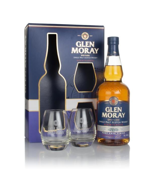 Glen Moray Port Cask Gift Pack with 2x Glasses Single Malt Whisky
