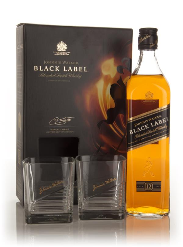 Johnnie Walker Black Label + 2 Glasses Blended Whisky