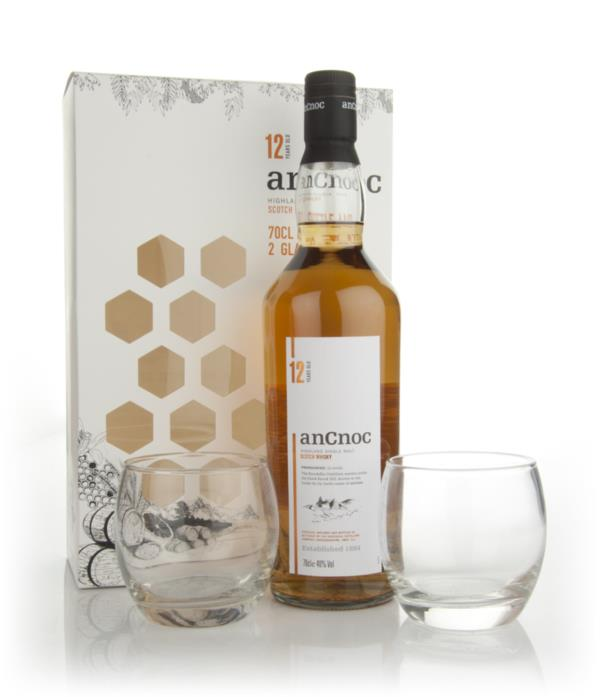 AnCnoc 12 Year Old with 2 Glasses Gift Pack Single Malt Whisky
