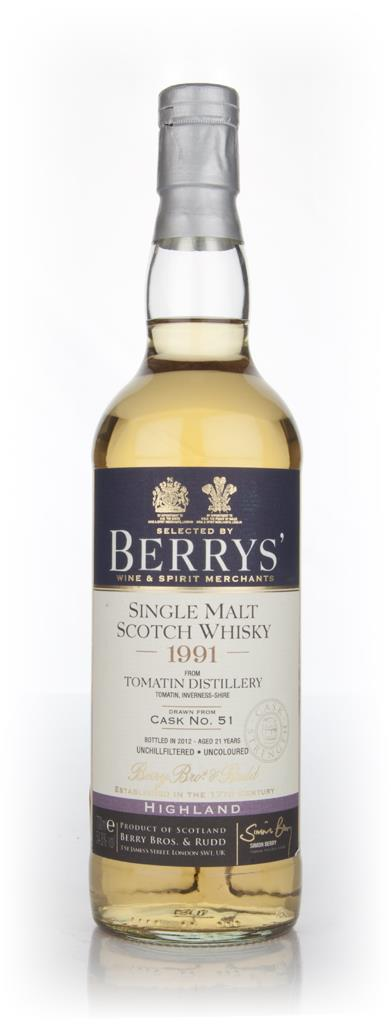 Tomatin 21 Year Old 1991 Cask 51 (Berry Brothers and Rudd) 54.8% Single Malt Whisky