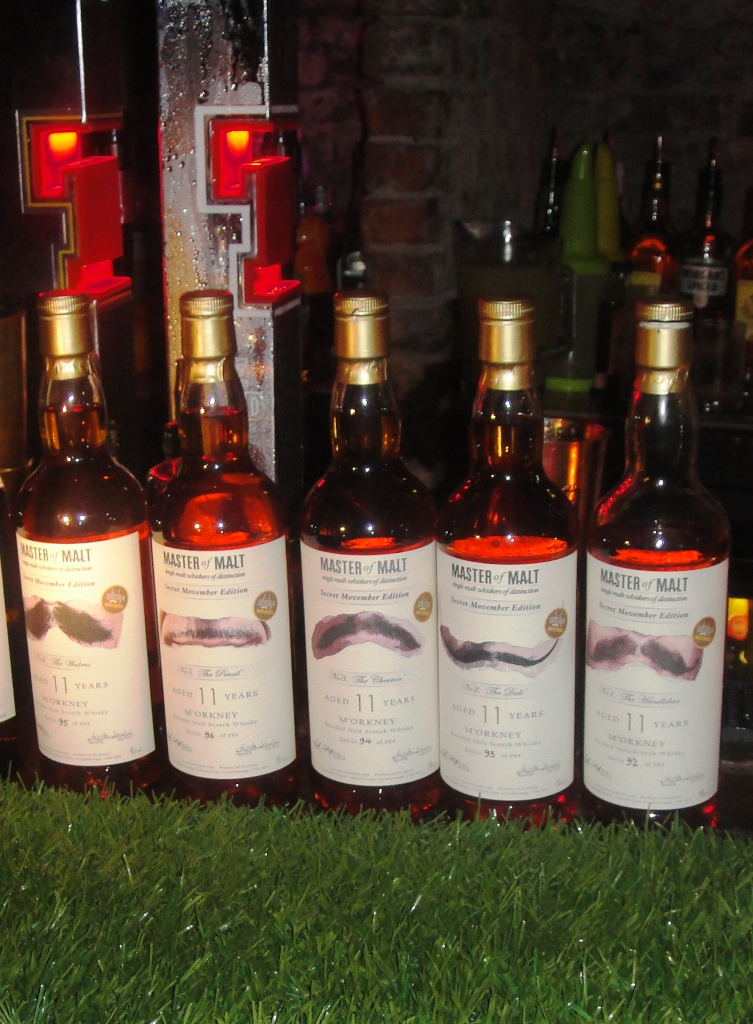 Movember bottlings on the bar at the Whisky Picnic in Edinburgh